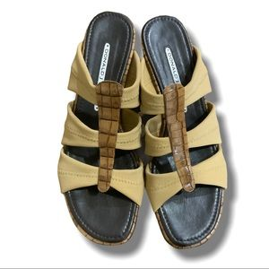 DONALD J PLINER FABRIC AND LEATHER SANDALS SZ 7